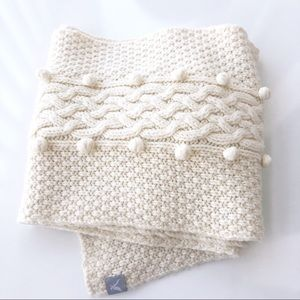 American Eagle Cable Knit Puff Ball Scarf